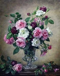 floralart.quenalbertini: Pink and white roses by Albert Williams