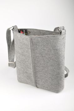 Light gray melange unisex bag Stella. Original by FELTTERRA, $100.00
