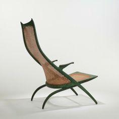 DANJOHNSON  Gazelle High Back lounge chair, model50B  Dan JohnsonStudio USA , 1956 cast bronze with applied patina, caning 25 w x 35 d x ...