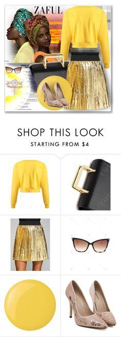 """Metallic Color Pleated Mini Skirt-zaful.com"" by ane-twist ❤ liked on Polyvore featuring Deborah Lippmann and zaful"