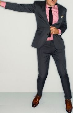 Charcoal Grey Suit, Pink Shirt, Black Knit Tie & Leather Brown Oxford Shoes