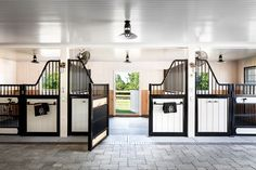 Learn more about this simple, but stunning barn transformation. A storage barn is converted into a two-stall barn for DarkHorse's newest horses. Dream Stables, Dream Barn, Horse Stables, Horse Farms, House With Stables, Schleich Horses Stable, Luxury Horse Barns, Small Horse Barns, Horse Barn Designs