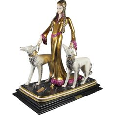 """Art Deco Style Lady with two Borzoi  """"Ester """""""