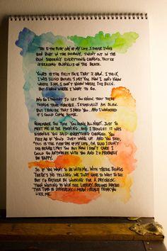 Bright Eyes lyrics with watercolors. From http://monstermonsterblog.wordpress.com/
