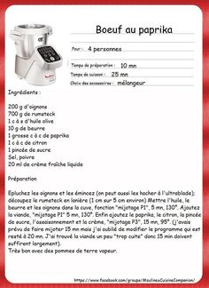 Thermomix Ou Companion, Celine Dion, Diners, Tupperware, Robots, Cooking, Cooking Recipes, Original Recipe, Restaurants