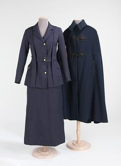 "1918 Military Uniform, via The Metropolitan Museum of Art:  ""The language of the Naval Reserve Act of 1916 stated that among those eligible to serve were ""all persons who may be capable of performing special useful service for coastal defense."" That lack of specificity allowed for the enlistment of women, who began to join the service in 1917. This naval reserve ensemble was worn by a Yeoman (F)—Yeoman (Female)—an enlisted rank popularly called Yeomanette."