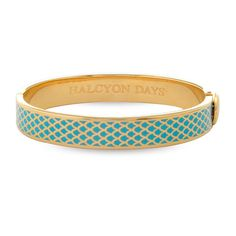 Salamander Turquoise & Gold Hinged Bangle | Halcyon Days (m)