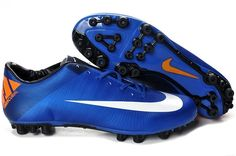 Nike Mercurial Vapor VII AG Artificial Grass Mens Soccer Cleats(Photo Blue Total Orange Dark Obsidian Pure Platinum)