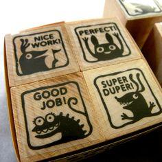 Good Job  Monster rubber stamp for teachers by fishcakesoboy