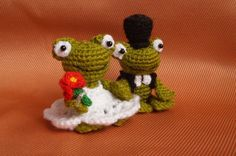 Crochet Frogs, wedding couple, His and Hers, Gift for couple, plush toad, pair, Valentines Day gift, stuffed Animals, knitted gift, bride and groom.  This is a adorable couple of frogs. They are crocheted from green, black and white acrylic yarn and filled with fyberfill.  They are approximately 8 cm (3.14 inches) in height.  The toy is hand washable.  Thanks for shopping here!  Best wishes, Maria