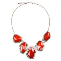 $6.99 Red Irregular Shaped Acryl Bib Necklace at Online Jewelry Store Gofavor