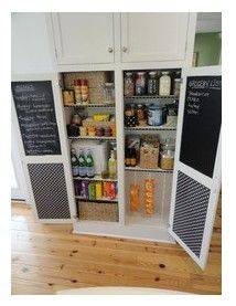 chalk board fun on cabinet insides