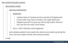 funny tumblr comments. USA and Canada. I guess that makes America Merle and Canada Daryl...