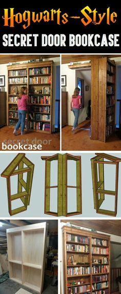 Hogwarts-Style Secret Door Bookcase For Book Lovers! – Cute DIY Projects - Hogwarts-Style+Secret+Door+Bookcase+For+Book+Lovers! Hidden Spaces, Hidden Rooms, Hogwarts, Cute Diy Projects, Home Projects, Diy Projects For Bedroom, Bookcase Door, Bookcases, Secret Door Bookshelf