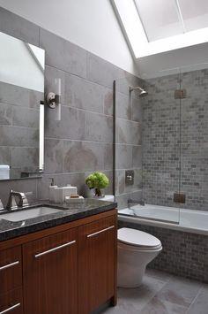 10+bathroom+skylight+simple+brown+vanity+small+grey+bathroom+subway+tiles+shower+tub+combo.jpg 398×600 pixels