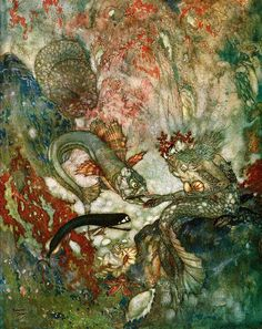 """The Merman King had been for many years a widower"" from The Little Mermaid, illustration by Edmund Dulac"