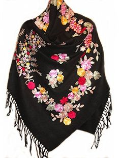 New pure wool fine embroidered shawl scarf Ladies Scarf Wrap Shawl WJ-180B black * Click on the image for additional details.