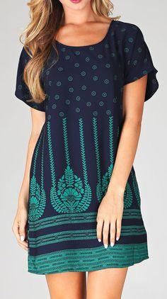 Pinkblush Navy Blue & Green Floral Border Shift Dress