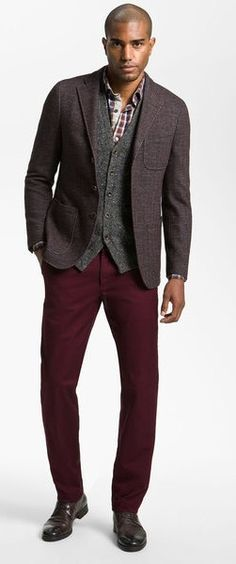 Great styling = plaid button-up, cardigan, sport coat and maroon chino.