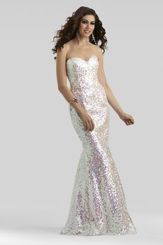 Clarisse 2014 Opal Strapless Sweetheart Mermaid Sequin Iridescent Prom Gown 2348 | Promgirl.net