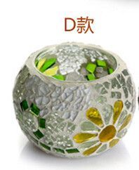 Mosaic Carved Glass Candle Holder