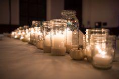 Autumn wedding table centerpiece #candles