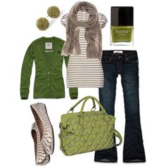 green & brown, created by htotheb on Polyvore