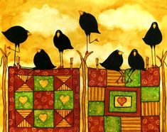 One of my blackbird paintings. This is The Quilters. Find it here http://artblooms.net/store/index.php?main_page=index&cPath=16_25