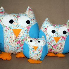 Owl family set of 3 cushions turquoise, pink and cream paisley £25.00