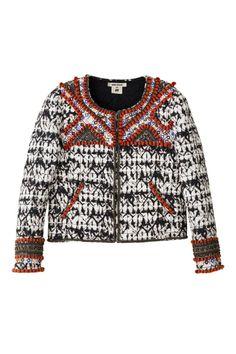 LOVE LOVE - Chaqueta guateada de inspiración tribal con estampado tie-dye y detalles en rojo.