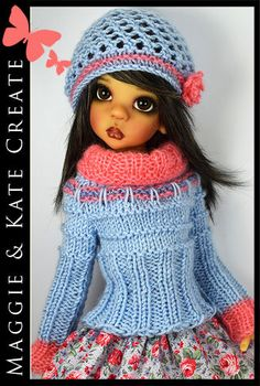 """OOAK Blue & Coral Outfit for Kaye Wiggs 18"""" MSD BJD by Maggie & Kate Create"""