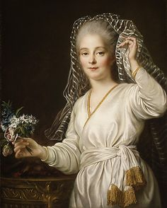 Portrait of a Young Woman as a Vestal Virgin  François Hubert Drouais (French, Paris 1727–1775 Paris)  Date: 1767 Medium: Oil on canvas Dimensions: 31 1/2 x 24 7/8 in. (80 x 63.2 cm) Classification: Paintings Credit Line: Gift of Mrs. William M. Haupt, from the collection of Mrs. James B. Haggin, 1965 Accession Number: 65.242.2