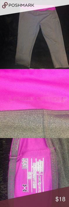 UA Workout Leggings Magenta & heather gray workout leggings from Under Armour. Size L & fit very well. HeatGear for a comfortable workout! 3/4 length Under Armour Pants Leggings