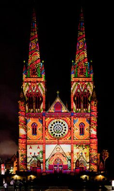 St Mary's Cathedral, Vivid Festival, Sydney, New South Wales, Australia Sydney Australia, Australia Travel, Victoria Australia, Western Australia, Places Around The World, Oh The Places You'll Go, Beautiful World, Beautiful Places, Chapelle
