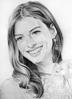 Anne Hathaway by Portrait Lc  https://www.facebook.com/PortraitLc  #art #drawing #Graphit #portrait #black #white