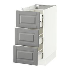 """IKEA - SEKTION, Base cabinet w/3 fronts & 4 drawers, white, Bodbyn gray, 15x24x30 """", Fö, , FÖRVARA drawer can be pulled out to ¾ of its total depth and has plenty of storage space.Sturdy frame construction, 3/4"""" thick."""