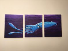 The Giant Squid. Floating through a purple expanse this giant squid stares directly at the viewer with its large unblinking eye.
