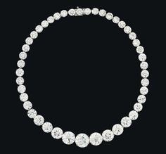 An Important Diamond Riviere Necklace, retailed by Harry Winston (Formerly the Property of Zsa Zsa Gabor) – Composed of forty-five graduated circular-cut diamonds, the five principal stones … Harry Winston, High Jewelry, Luxury Jewelry, Jewellery, Trendy Jewelry, Jewelry Box, Fashion Jewelry, The Bling Ring, Royal Jewels