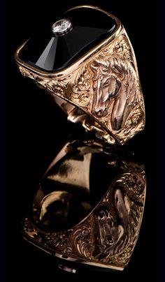 J. Chapa Hernandez | Black Jade Horse Ring BJR-602 - MEN'S RINGS | Bellevue, WA