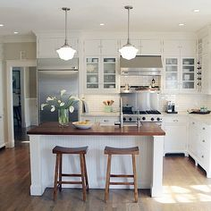 White Shaker Cabinets - Contemporary - kitchen - Home Decor New Kitchen, Kitchen Dining, Kitchen Decor, Kitchen White, Kitchen Ideas, Ivory Kitchen, Kitchen Layouts, Shaker Kitchen, Kitchen Wood