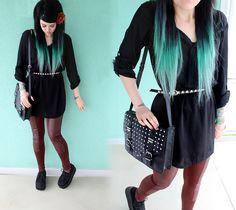 H&M Simple Black Shirt, Demonia Platform Creepers 202, H&M Black Bag With Studs, H&M Brown Faux Leather Leggings