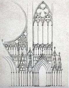 Facade of Strasbourg Cathedral, Art work by Yahya Kaddoura, Artwork Size: 370x470mm , Original Artist: Unknown, Location: Strasbourg, France, Style: Gothic Architecture (Romanesque Architecture), Type: Cathedral, Date: 1260s,