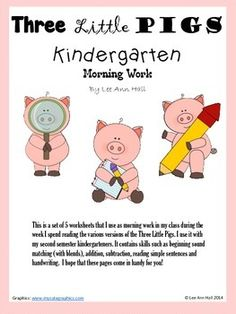 Kindergarten Morning Work to go with The Three Little PIgs