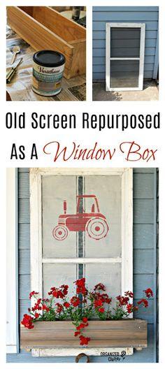 50 ideas old screen door ideas reuse window frames Old Window Screens, Old Screen Doors, Window Frames, Window Screen Crafts, Painted Window Screens, Window Ideas, Door Ideas, Farmhouse Style Decorating, Porch Decorating