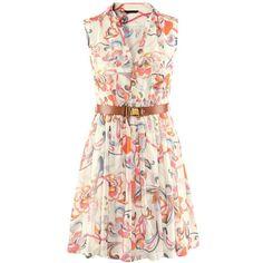 Muiticolour Foam Sleeveless Floral Belt Chiffon Dress ($17) ❤ liked on Polyvore featuring dresses, multicolor, knee length chiffon dress, shift dress, sleeveless shift dress, sleeveless dress and pink dress