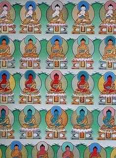 Pintura de los Budas, el monasterio de Kopan, Katmandú, Nepal, Asia