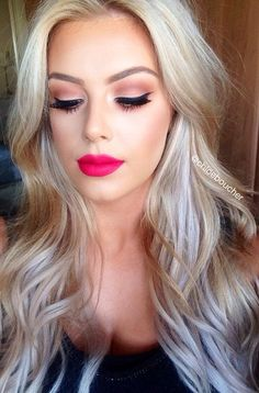 natural makeup, wedding makeup looks, spring eye makeup looks, summer eye makeup ideas Pink Lipstick Makeup, Hot Pink Lipsticks, Mac Lipstick, Dark Pink Lipstick, Red Lipstick Makeup Blonde, Lipstick Style, Burgundy Lipstick, Lipstick Shades, Beauty Make-up