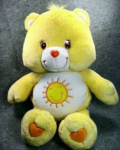 """Remember this cuddly guy? 2002 Care Bears FUNSHINE Bear Yellow Large 26"""" Sunshine Heart Nose 66cm #CareBears"""
