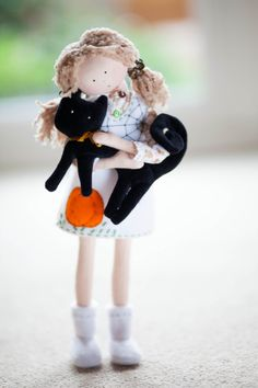 Halloween Rag Doll with a Black Cat TracyHalloween by MintyClub, £55.00