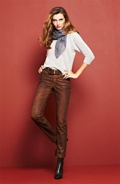 For your Family Gathering: Holistia Sweater & NYDJ 'Sheri' Coated Jeans #Nordstrom